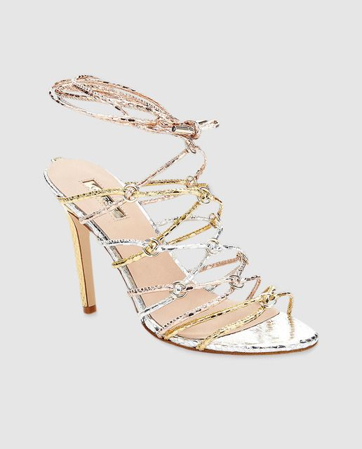 c81c4191 Sandalias de tacón de mujer Guess de tiras en dorado | Shoes ...