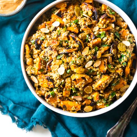 Grilled Sweet Potato Salad with Cauliflower Rice and Curried Almond Butter Vinaigrette - An easy, Paleo & Vegan friendly side dish that everyone will LOVE!