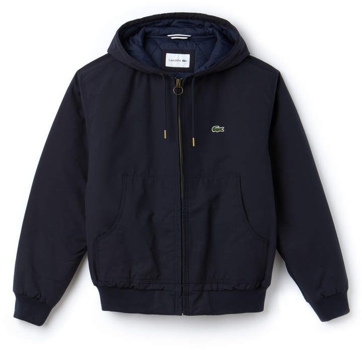 efebb221cf87 Lacoste Men s Short Hooded Zippered Quilted Cotton Twill Jacket