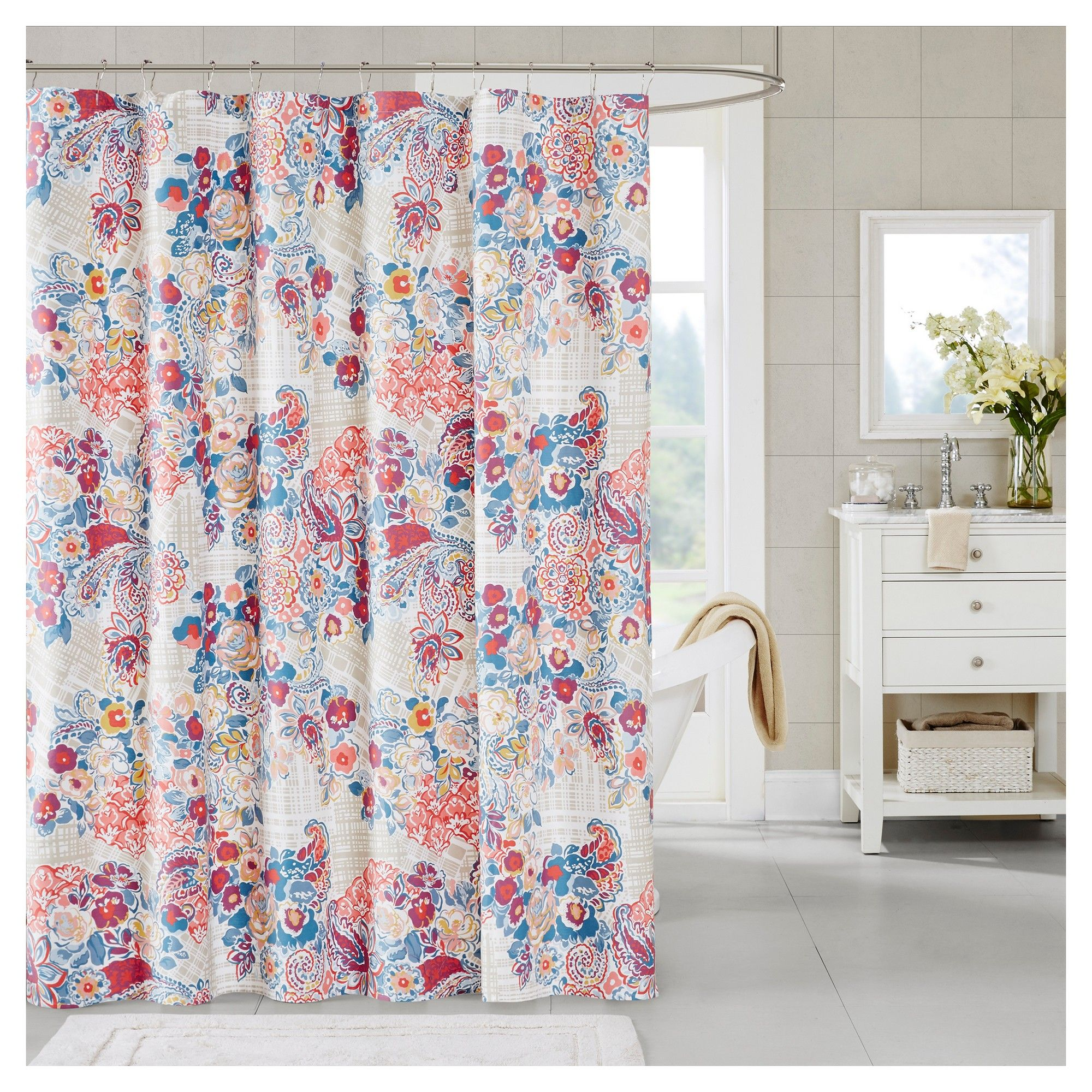 orange floral shower curtain. Floral Shower Curtain Orange Blue  Shower Curtains And Products