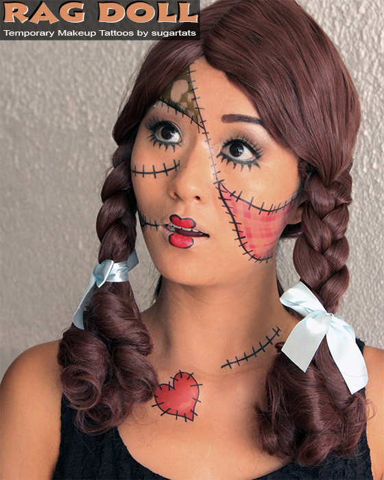 Gallery for zombie rag doll tattoo designs costumes for Halloween makeup tattoos