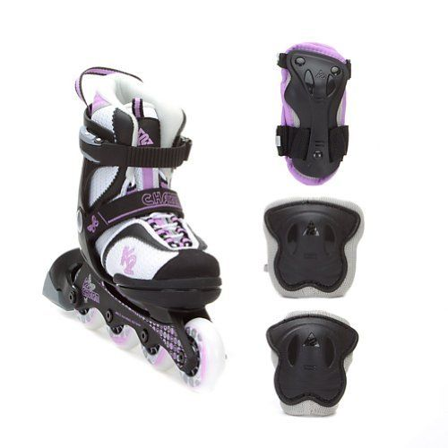 K2 Charm Adjustable with 3 Pad Pack Girls Inline Skates 2012 (White/Black/Purple) by K2. $180.00. Get your little one up and going and active with the K2 Charm Girls Inline skates. Your little girl will have a great time rolling around with the K2 Charm Inline skates. These skates are perfect for the beginning skater all the way up to more advanced skaters. The Charm skates lined with the Original Softboot that will provide your little one with the best fit on the...