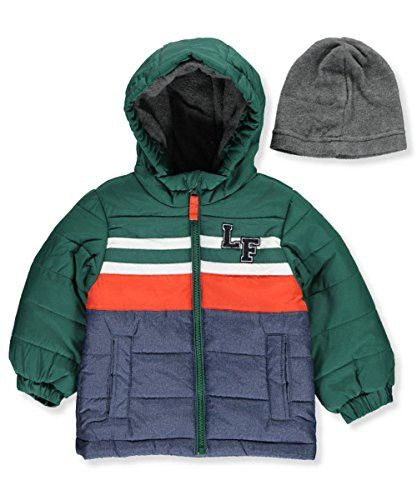 47564ea7814d London Fog Baby Boys Chest Stripe Puffer Coat with Hat