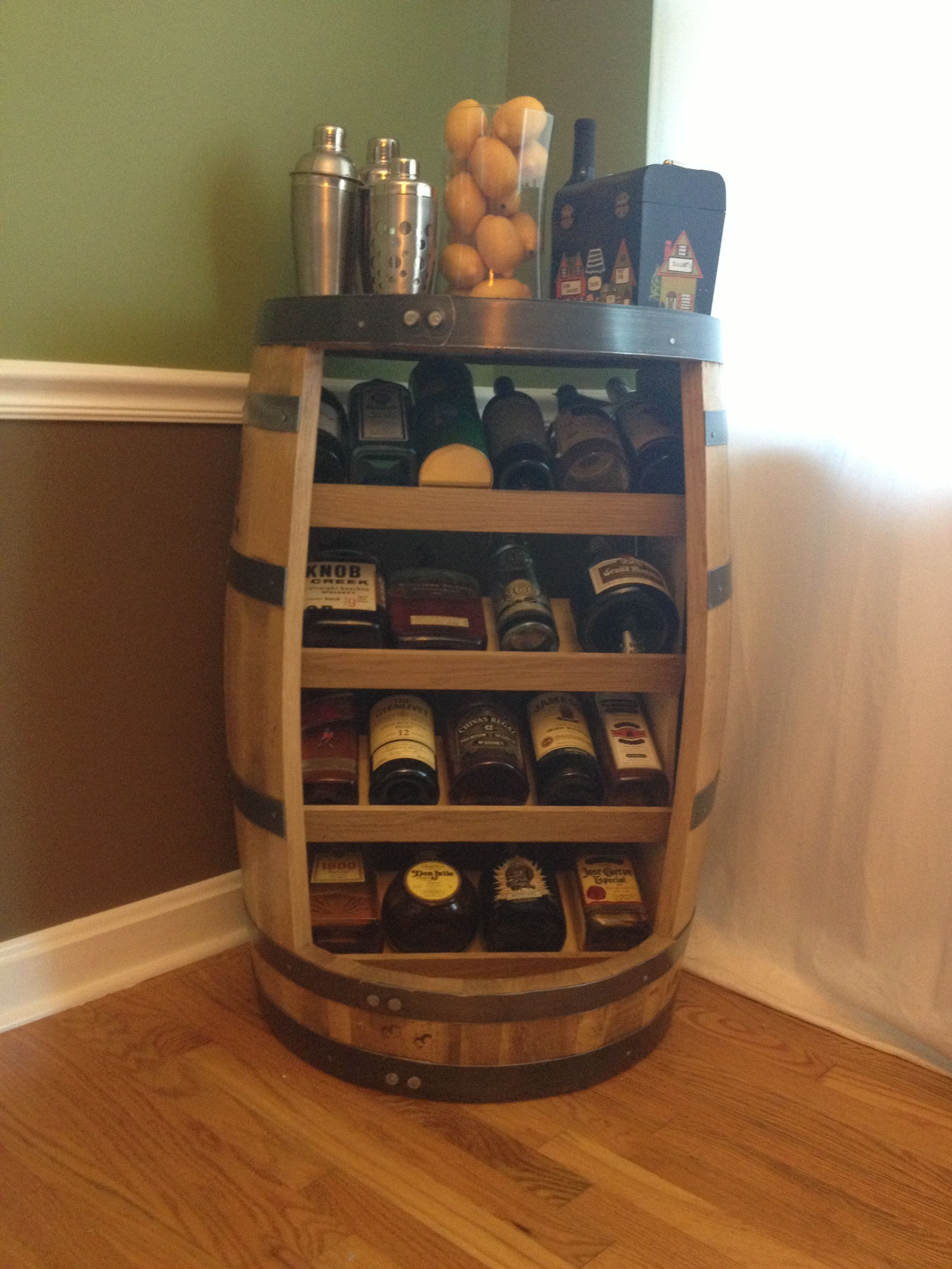 Old Whiskey Barrel Turned Liquor Wine Cabinet Home Man Cave
