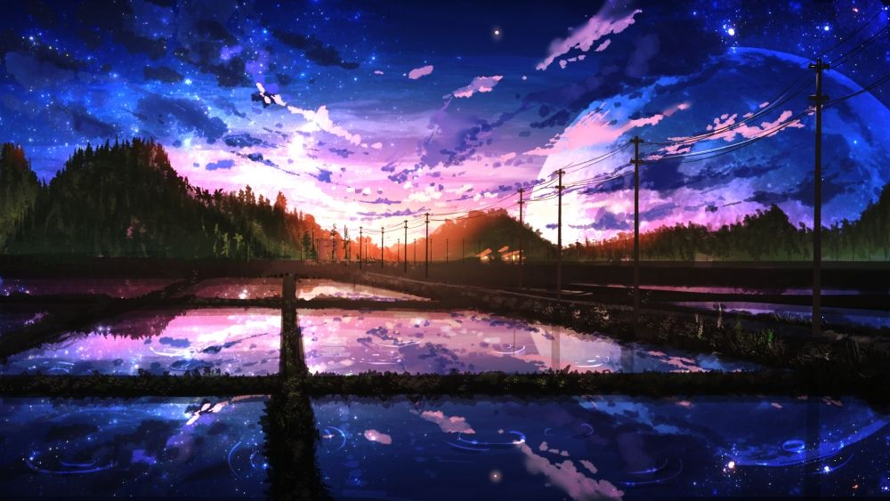 1920x1080 Anime Landscape Scenic Moon Painting Sky