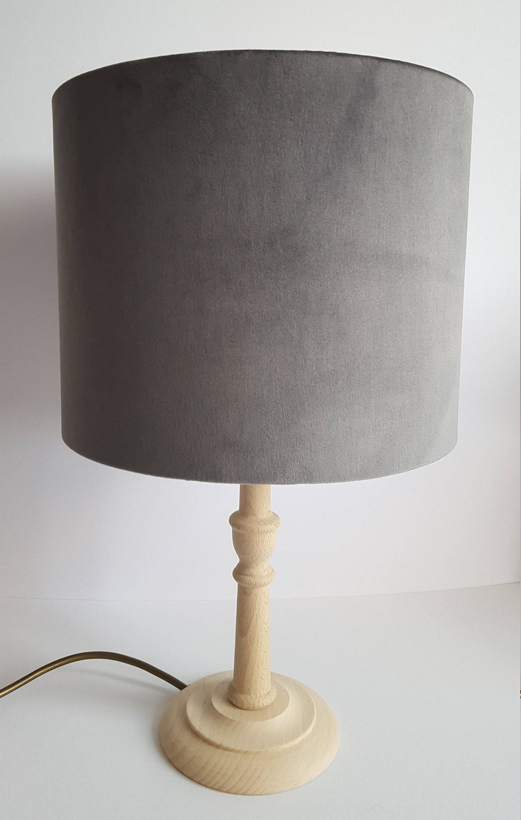 Grey Velvet Lampshade Oval Drum Slate Small By Lucywagtail On Etsy