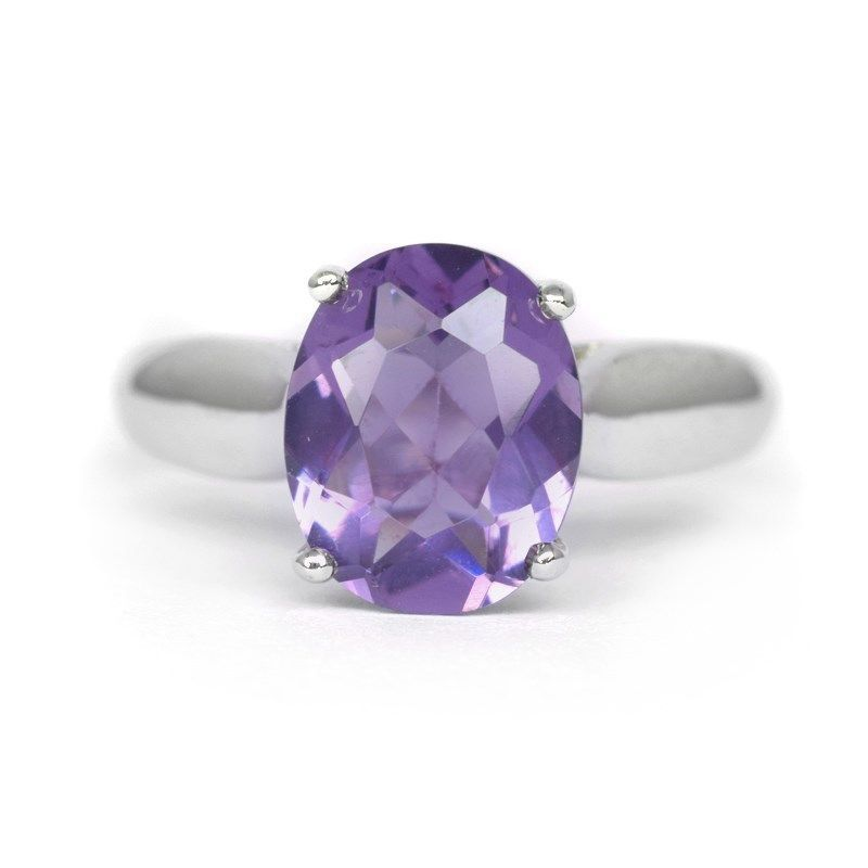 10x8mm Natural Purple Amethyst Ring With White Zircon in 925 Silver #MultaJewelry #SolitairewithAccents