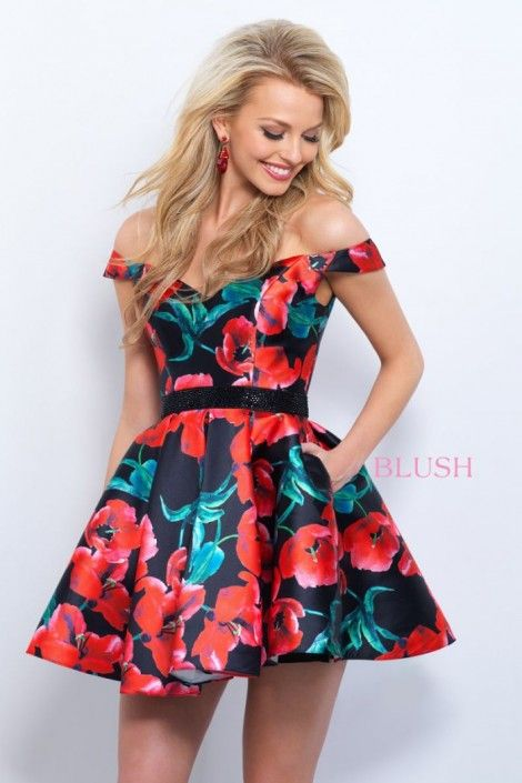 94f05016a90e Style 11360 from Blush is off the shoulder V neck floral print Mikado short party  dress with open V back