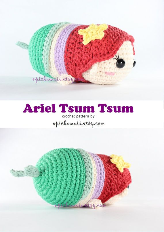 PATTERN: Ariel Tsum Tsum Crochet Amigurumi Doll | SQUEE!! | Crochet ...