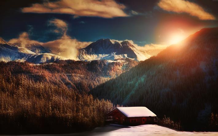 Download wallpapers Alps, 4k, winter, mountains, snowdrift