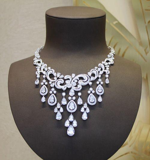 cartier high jewellery necklace white gold diamond drop curls