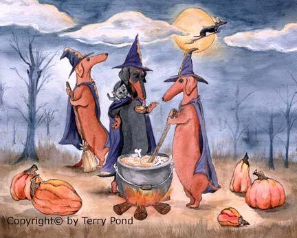 All Howls Eve Dachshund Hallloween Art by Terry Pond