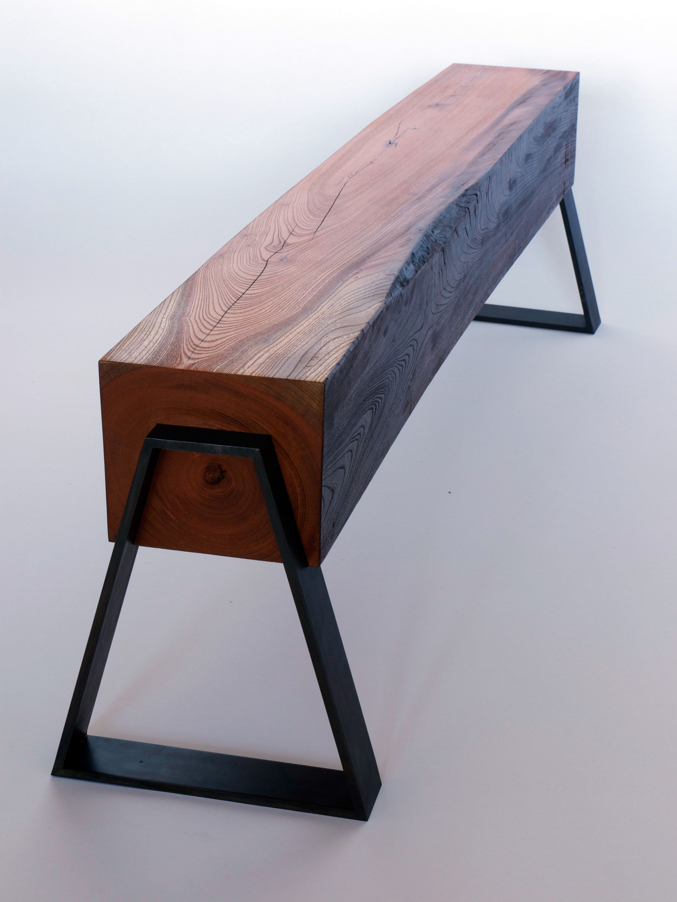 Reclaimed Longleaf Pine Beam Supported By Dovetail Shaped Steel Legs Furniture Decor Cool Furniture
