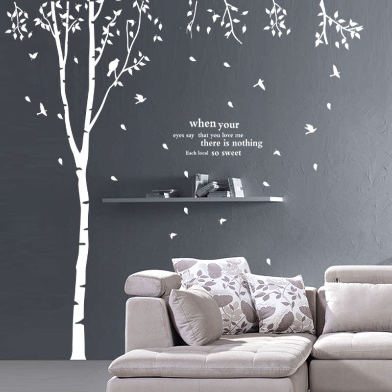 grand arbre creux mur b ton oiseaux 90976 blanc stickersductilit dans de sur. Black Bedroom Furniture Sets. Home Design Ideas