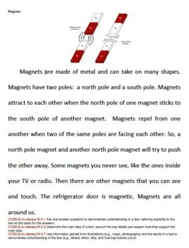 Magnets Reading Activity