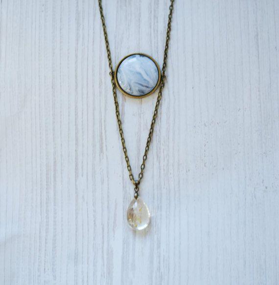 Dandelion Necklace Blue Resin Double Pendant Make A Wish Terrarium Bronze  Necklace Botanical Teardrop Long Necklace aded99459a03
