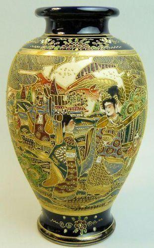 Antique Japanese Meiji Period Satsuma Pottery Vase C 1900