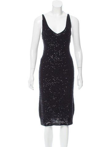 2c5d56fa9dcf Black Donna Karan cashmere knit dress with tonal sequin embellishments  throughout decollete neckline and semi-sheer underlay. Includes tags. i  know it s not ...