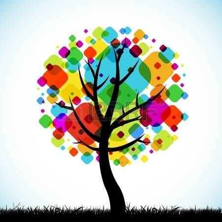 The abstract tree colorful background square design photo also rh za pinterest