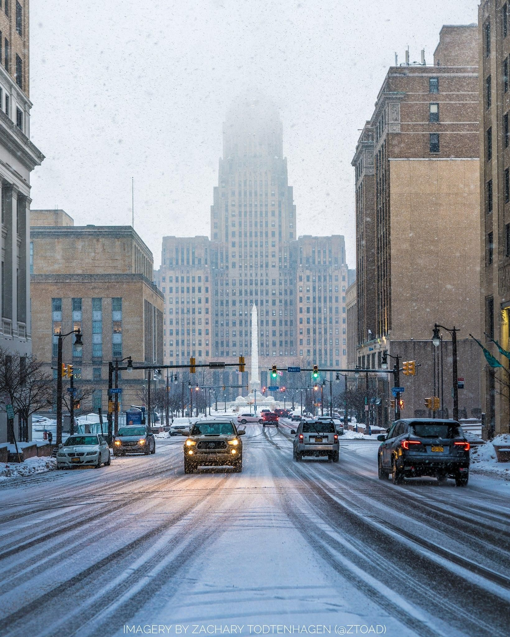 Tonight S Sunset Snowfall In Downtown Buffalo New York Oc City Cities Buildings Photography Buffalo City Buffalo New York New York Photography