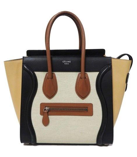 21669dd0fabf Céline Luggage Micro Multicolor Chalk Canvas Beige Calfskin Leather Tote -  Tradesy