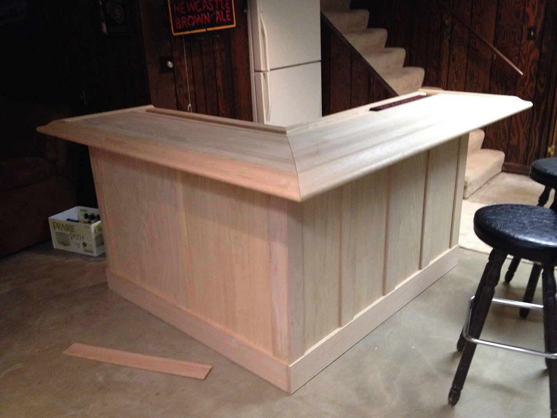 Unfinished Home Oak Bar With Slats Diy Home Bar Home Bar Plans Basement Bar