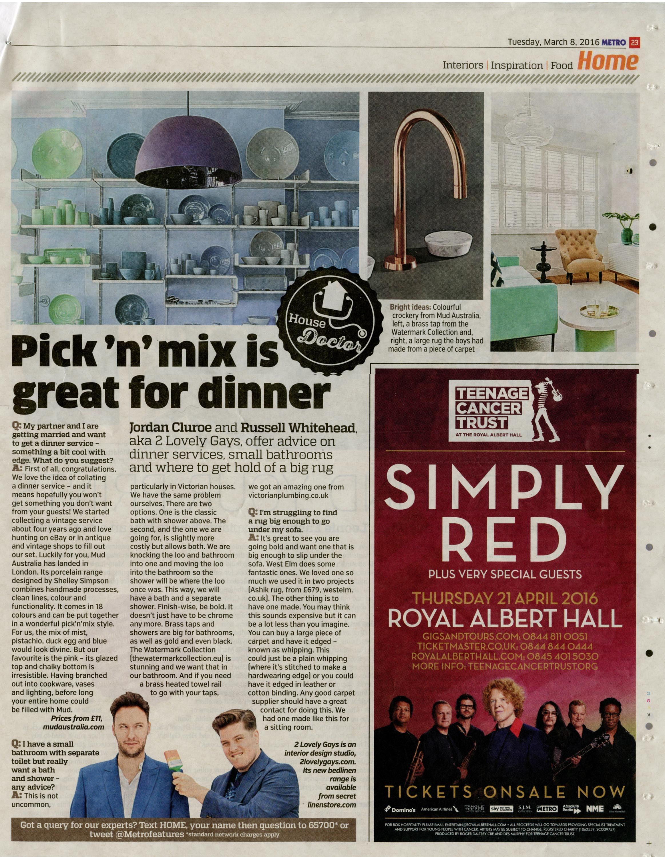An elegant and modern brass tap from the Watermark Collection. http://www.thewatermarkcollection.eu/ Metro (London) 8th March 2016