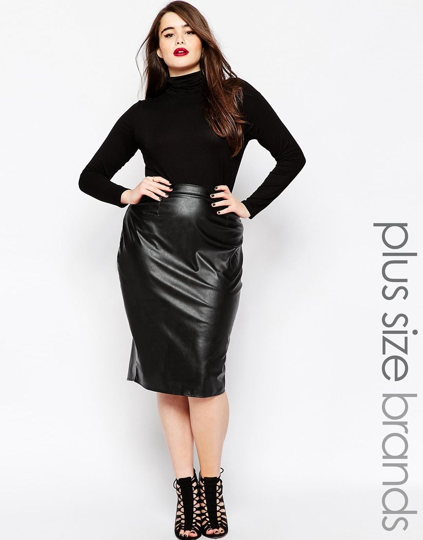 08365a299 Plus Size Leather Look Skirts
