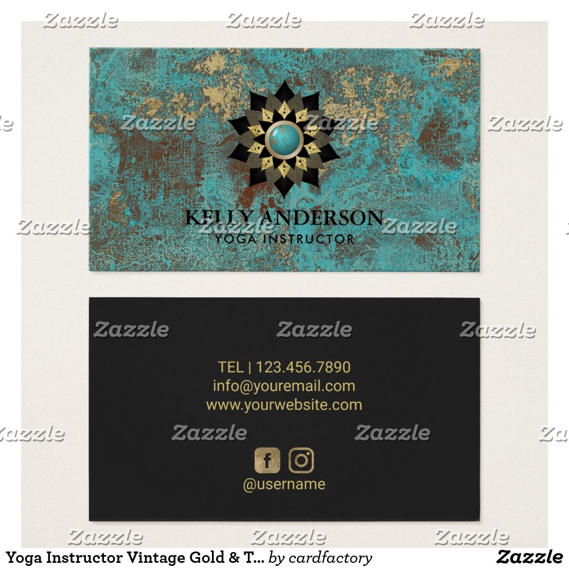 Yoga Instructor Vintage Gold & Turquoise Lotus Business Card ...