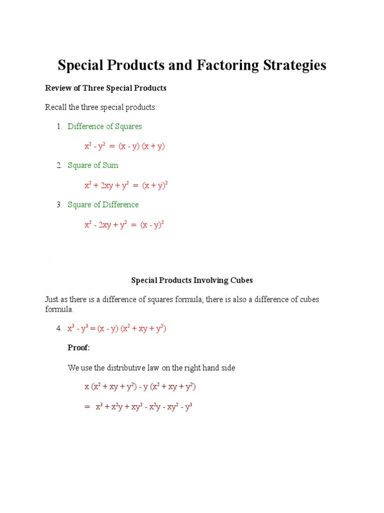 Special Products And Factoring Strategies Like Terms Combining Like Terms Word Doc