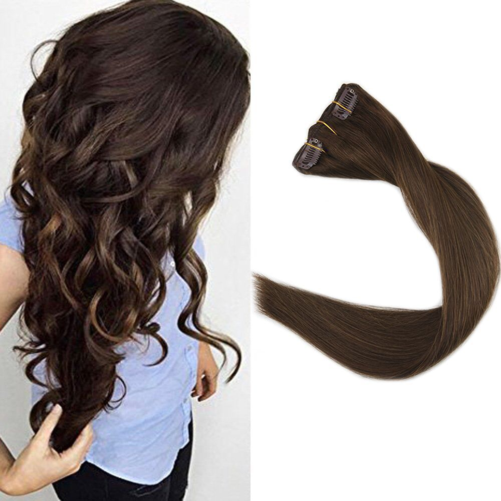 9Pcs Full Head Clip in Human Hair Extensions Medium Brown