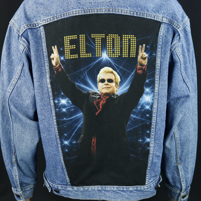 Elton John Levis Denim Jacket Blue Trucker Red Tab Vtg Made In Usa Mens Large Denim Jacket Levi Denim Jacket Patterned Jeans [ 3000 x 3000 Pixel ]