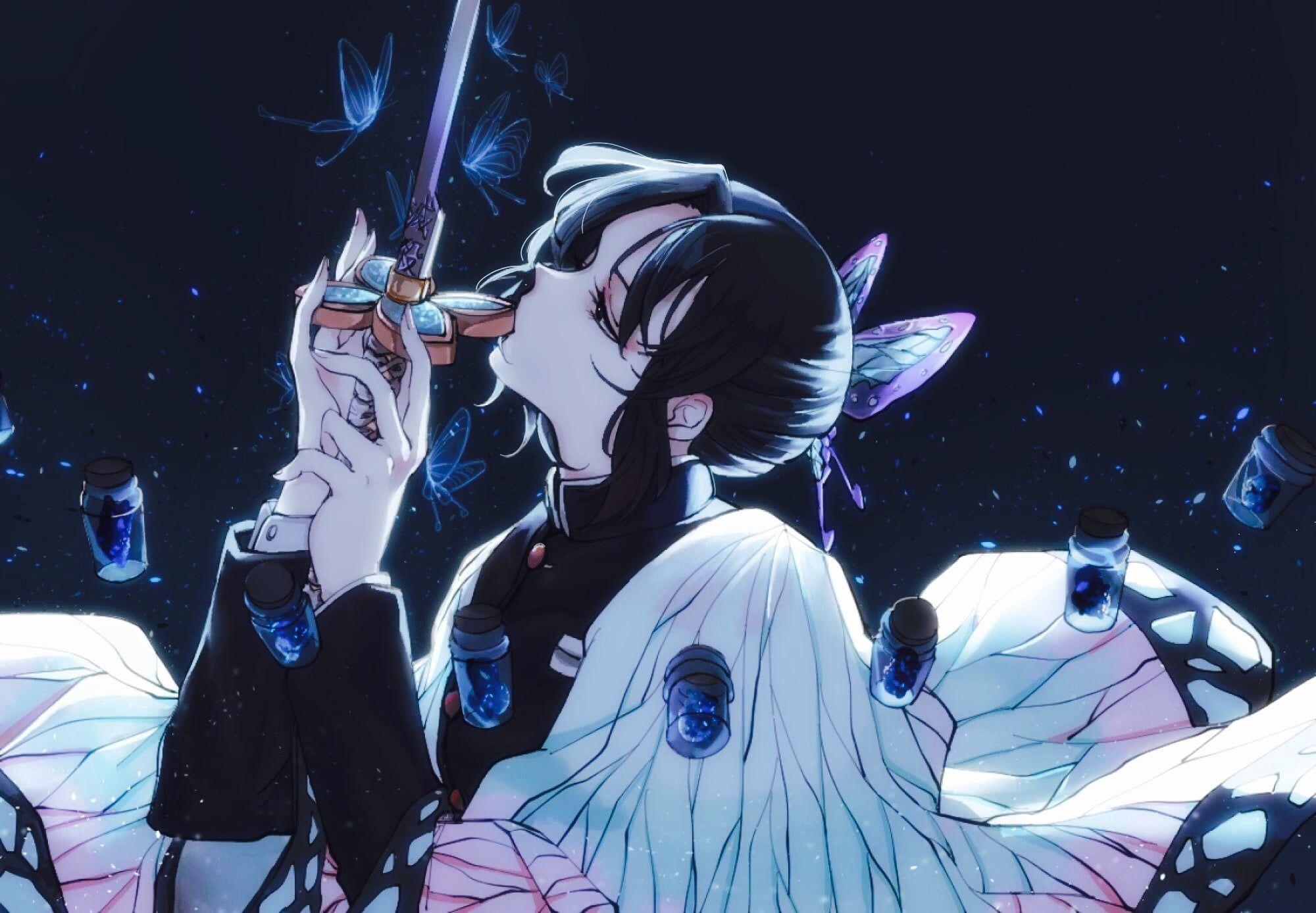 Kimetsu no Yaiba anime girls fantasy weapon 2D fan art