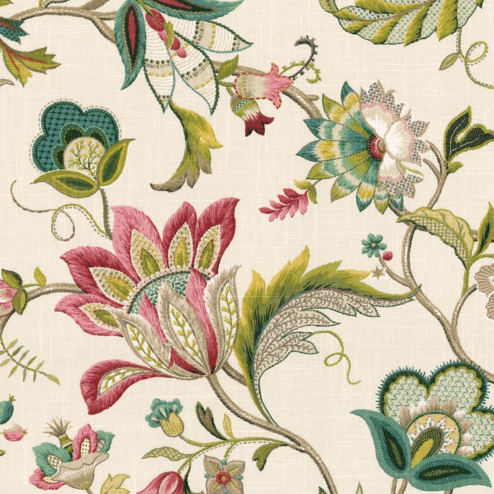Upholstery Fabric By The Yard Green and White Floral Upholstery Fabric