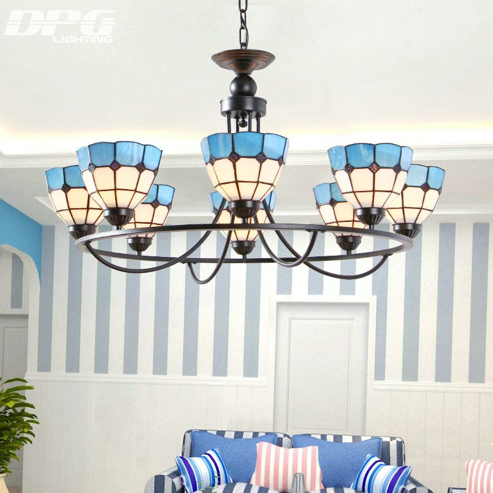 Mediterranean lamp 4 6 8 E27 retro living room chandelier Tiffany ...
