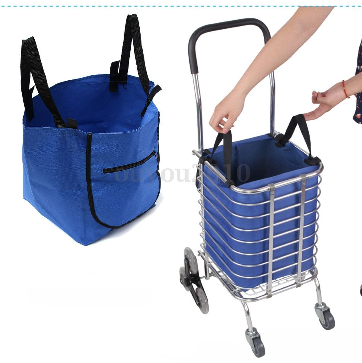 Folding Foldable Supermarket Shopping Trolley Bag Grocery Cart ...