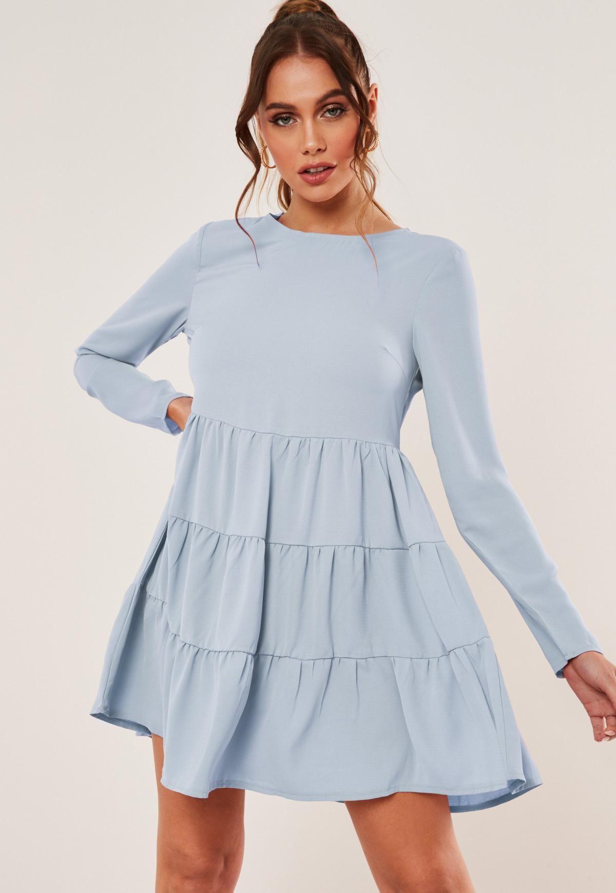 Missguided Blue Chiffon Tiered Smock Dress Tiered Dress Casual Pastel Dress Casual Blue Dress Casual [ 1739 x 1200 Pixel ]