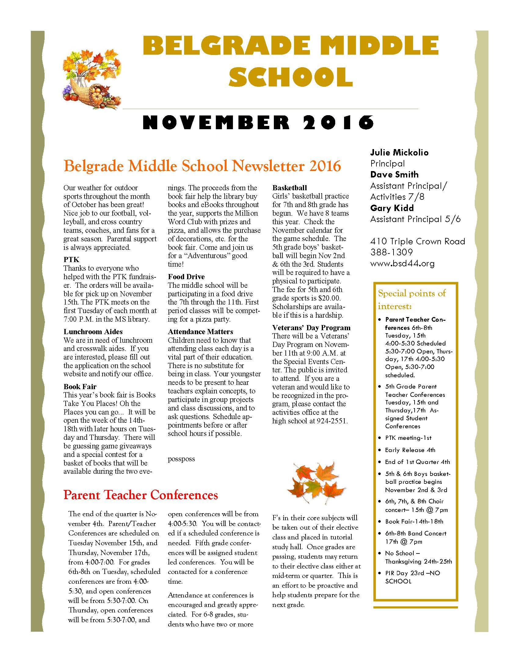 middle school november newsletter
