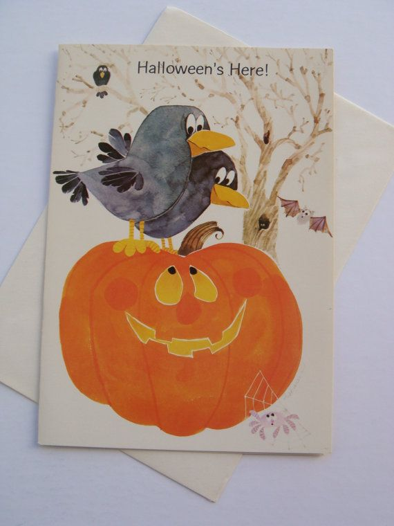 Vintage halloween greeting card black crows raven spider and jack vintage halloween greeting card black crows raven spider and jack o lantern unused with envelope made by majestic greetings m4hsunfo