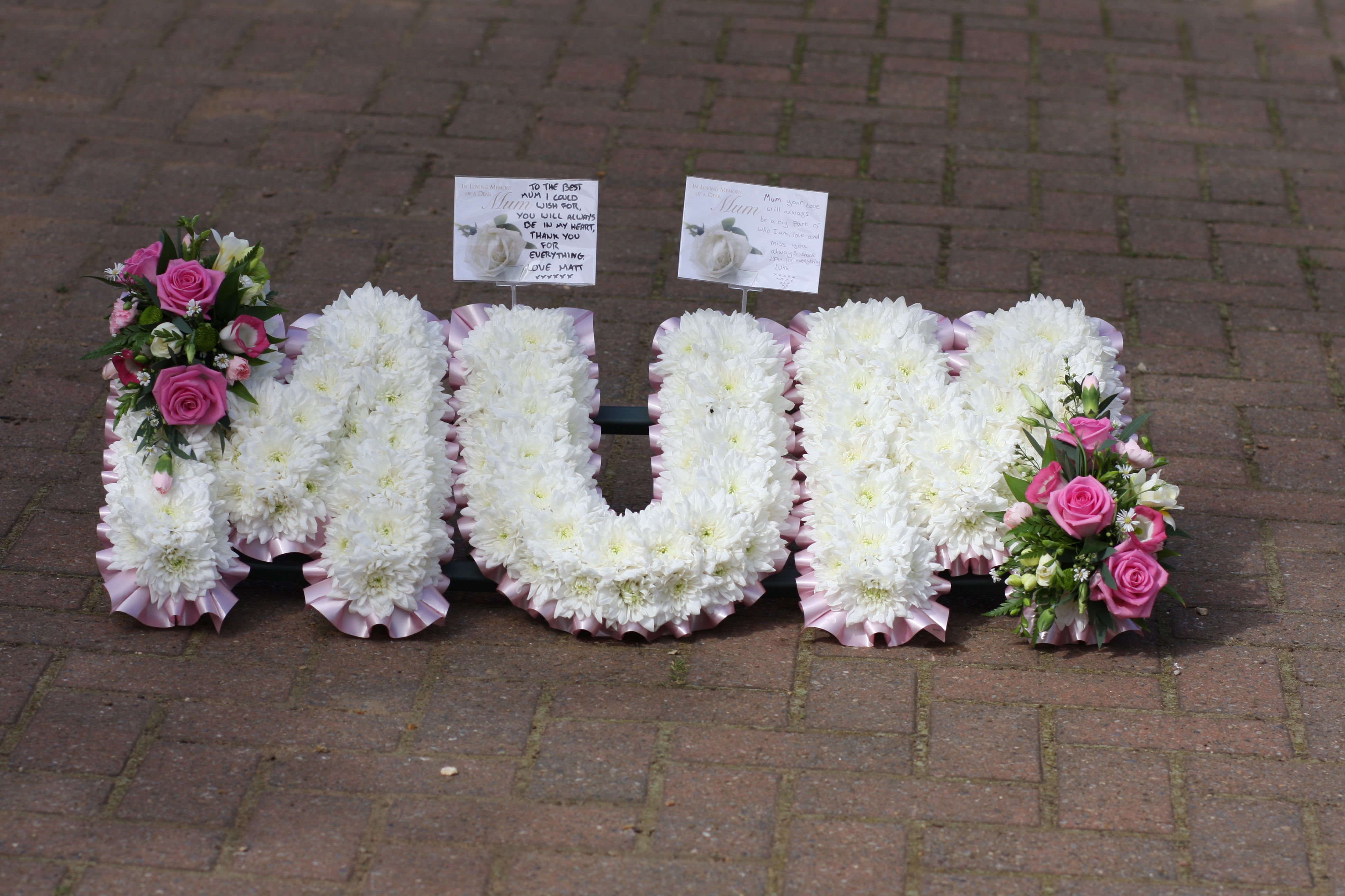 Funeral Tribute Letters Mum Pink And White Funeral Designs