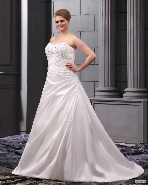 Wedding dress without train  custom bridesmaid dresses Sweetheart Court Plus Size Wedding Dress