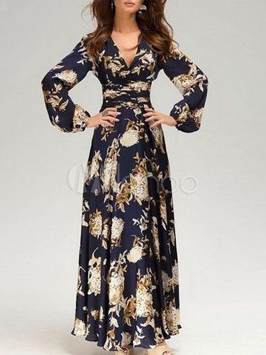 Black Printed Boho Brocade Maxi Dress For Woman Milanoo