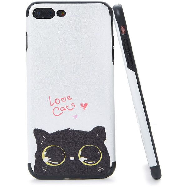 5fb7436f9b SheIn(sheinside) Two Tone Cat Print iPhone Case ($5) ❤ liked on ...