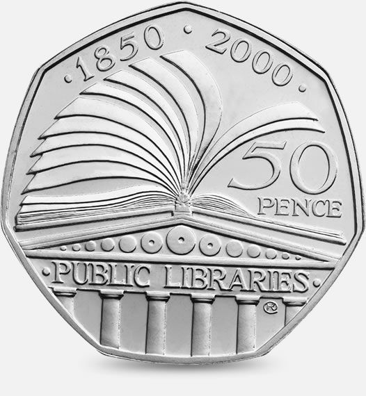 2000 150th Anniversary of the Public Libraries Act 50p #CoinHunt http://www.royalmint.com/shop/The_Great_British_Coin_Hunt_50p