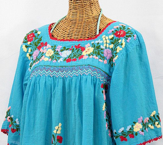 Mexican Peasant Blouse Hand Embroidered Top Colors Vintage Style Tunic Teal-Blue