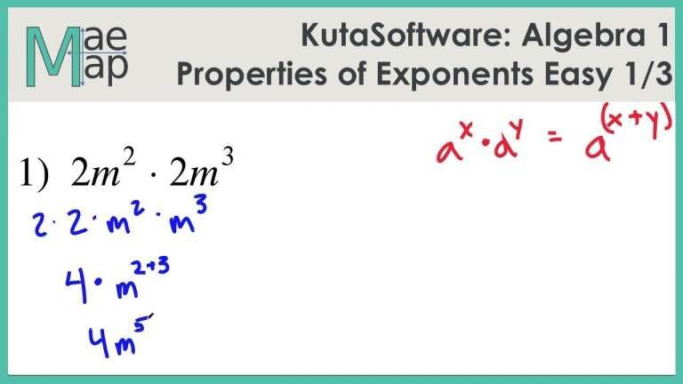 11 properties of exponents worksheet with work