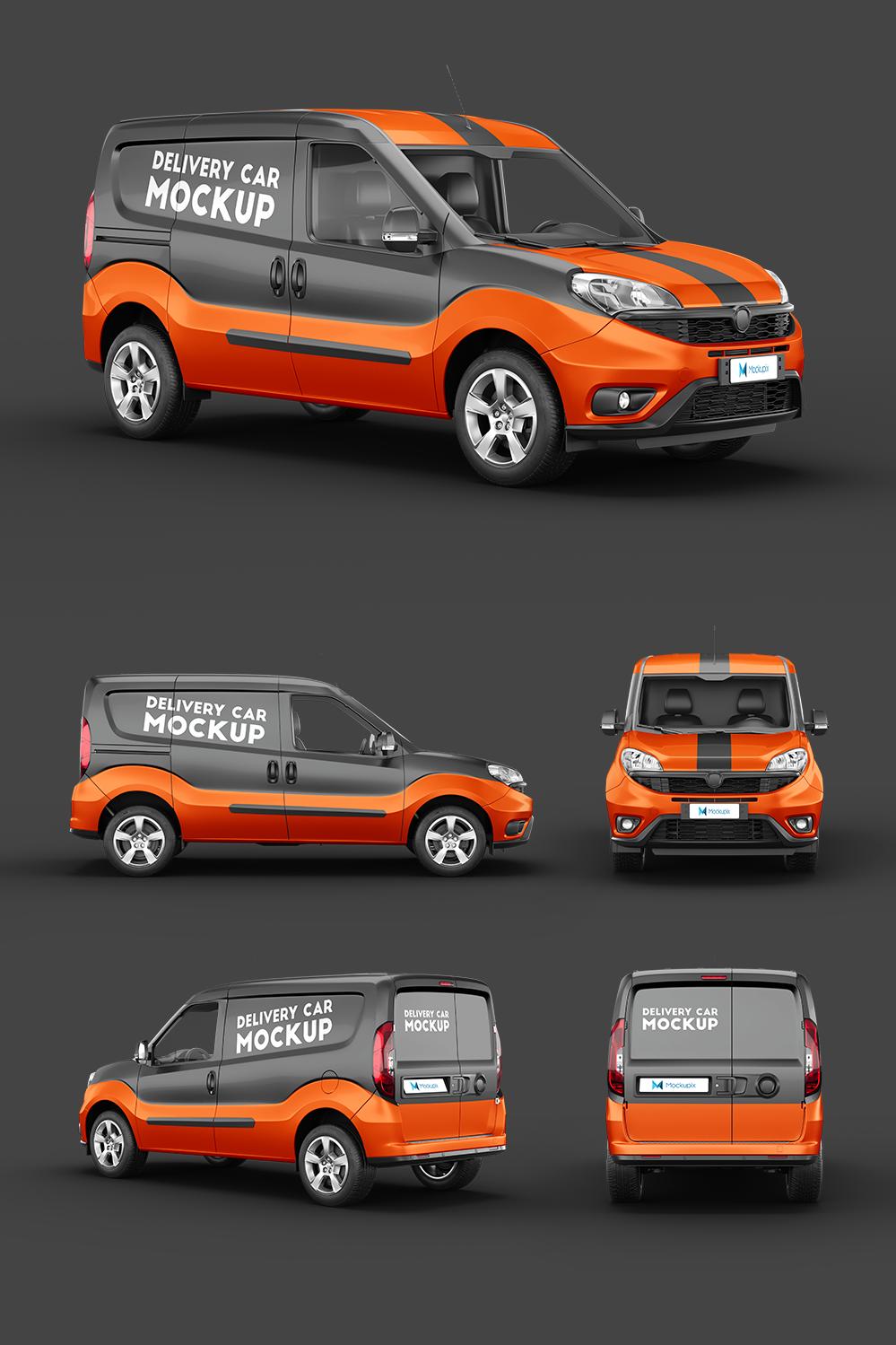 Delivery Car Mockup 3 Van Design Vehicle Signage Orange Vans