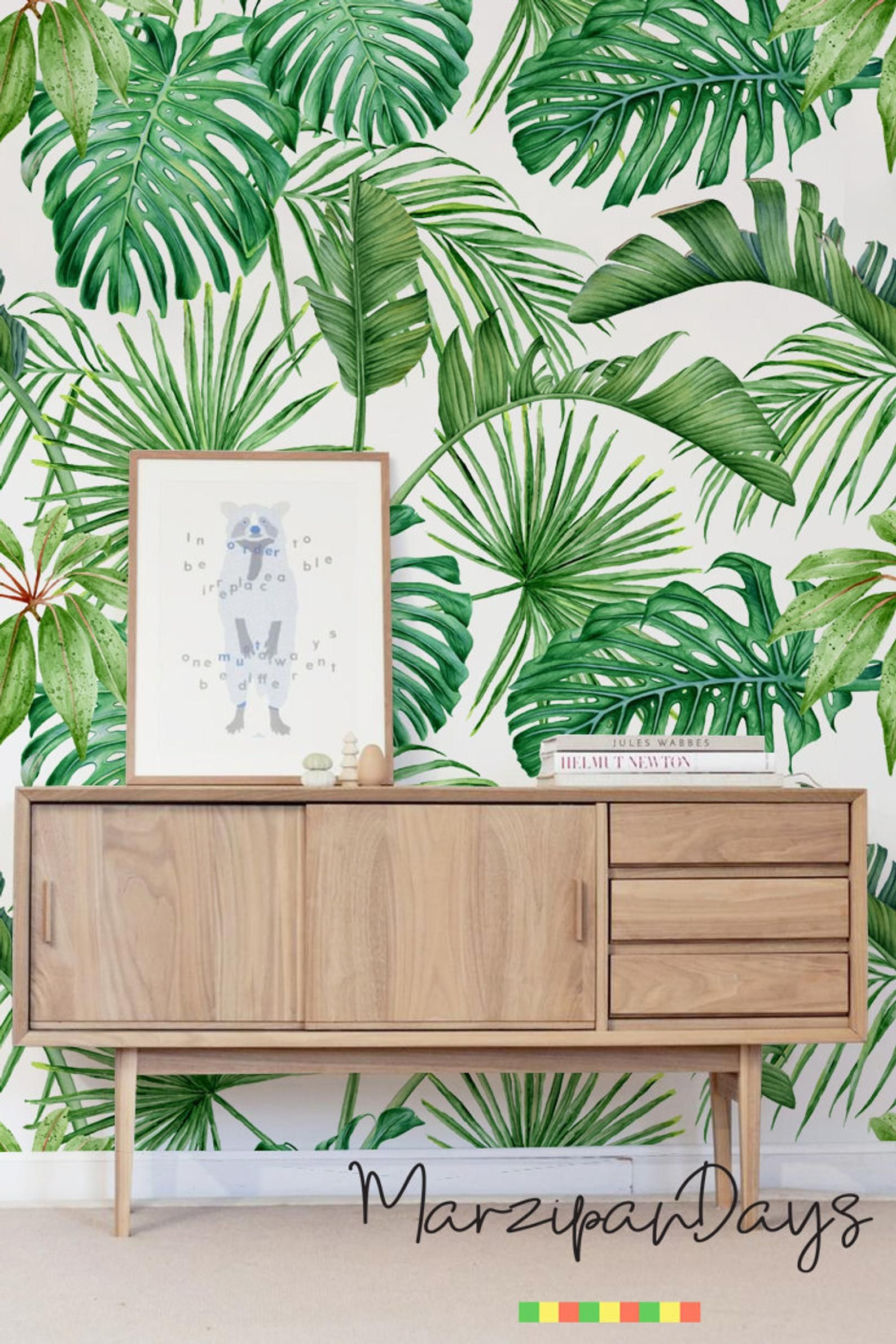 Palm And Monstera Tropical Leaves Green Removable Wallpaper Delicate Art Wall Self Adhesive Watercolor Wall Decoration Wallpaper 112 Tropical Bedrooms Decor Removable Wallpaper