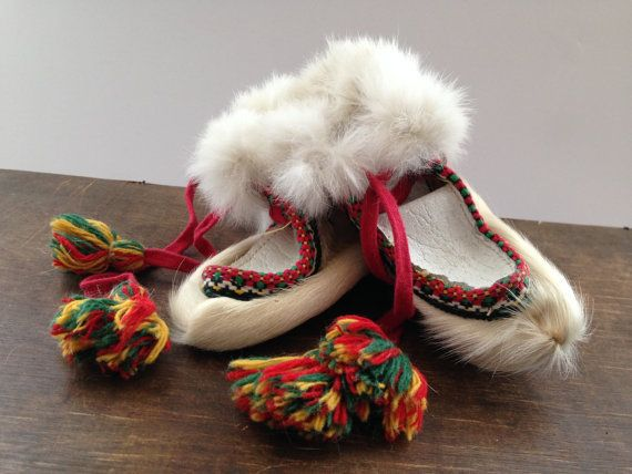 Vintage Sami reindeer fur children shoes Leather fur Booties ...