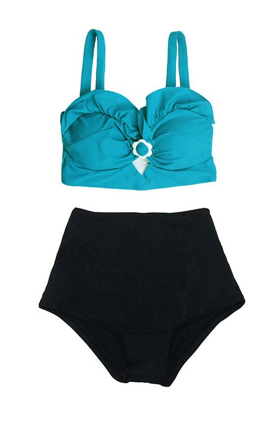 Turquoise Top And Black High Waisted Waist Shorts Swimsuit